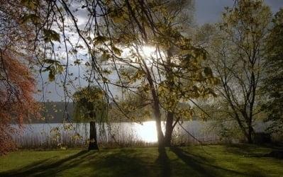 Außenanlage Villa Fohrde - Blick auf Havel im Sonnenuntergang.